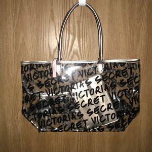 NWT Victoria Secret Tote/Cosmetic Bag Gold/Black